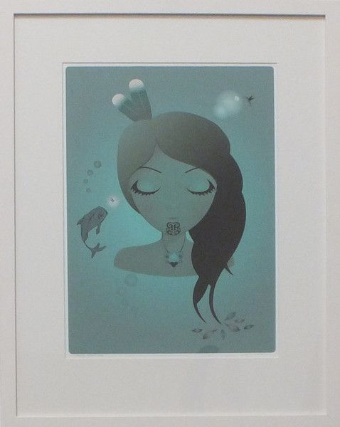 'Sleeping Moana Hine' transports you to an underwater world where hummingbirds, fish and humans live in harmony   Available framed or unframed, the framed print