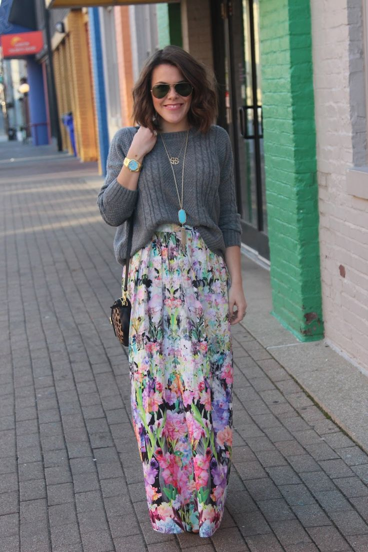 how to style a floral maxi in the winter: www.glitterandgingham.com. Maybe a sweater over a maxi dress?