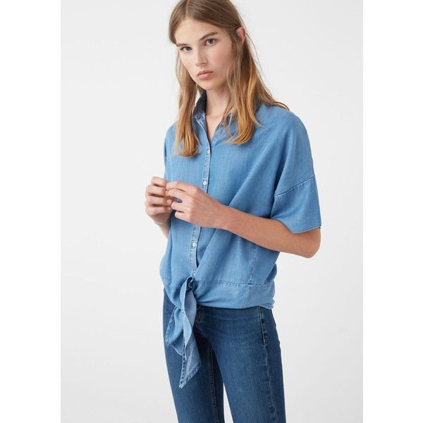MANGO Knot Shirt ($30) ❤ liked on Polyvore featuring tops, medium blue, embellished tops, embellished shirt, blue short sleeve top, blue short sleeve shirt and shirt top