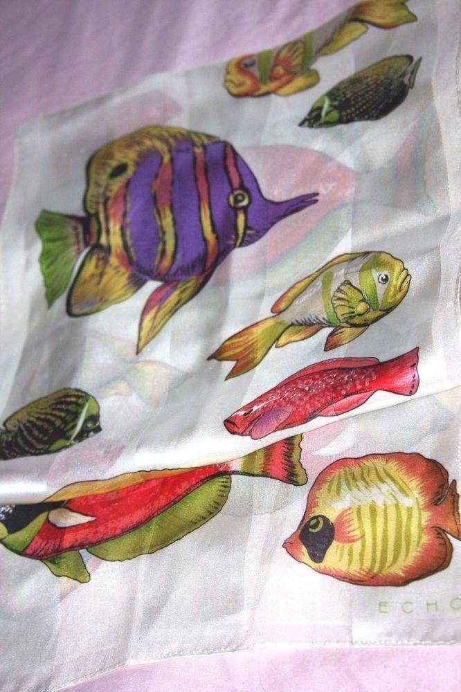 """ECHO 100% Silk Scarf - Tropical Fish - 11 x 56"""" #eCHO #Scarf"""