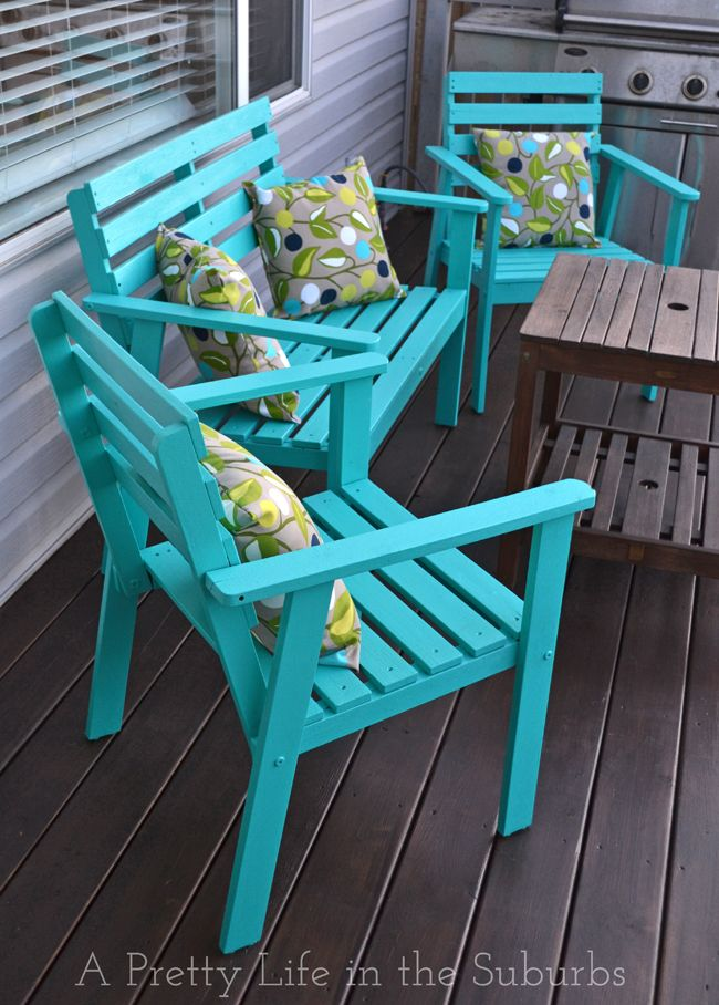 different color but like this wooden alternative for the patio. //The power  of paint! Love this deck furniture makeover! - 25+ Best Ideas About Painted Patio Furniture On Pinterest
