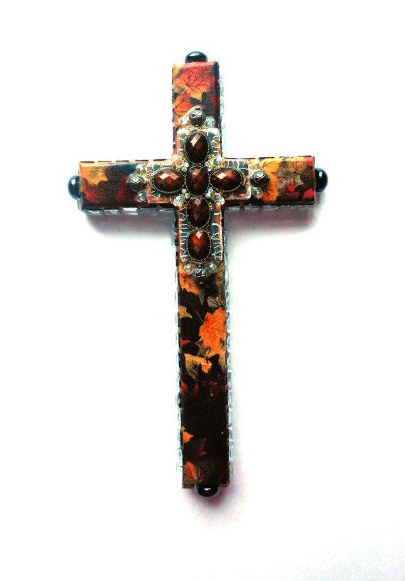 Крест ручная роспись, смешанная техника декупаж зеркало штук найденный объект стене крест религиозного искусства подарок