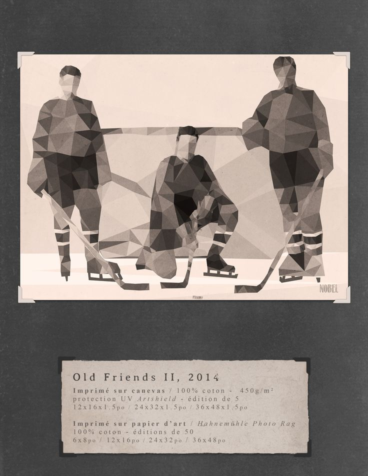 Old Friends II, 2014. 36x48in. #print on canvas & print on #Hahnemühle Photo Rag. Limited edition. #chic #shack #shabby #vintage #hockey #player / Artist is Boris Nobel / Taken from his portfolio.