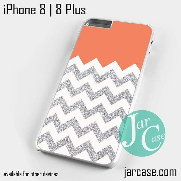 Orange Silver Glitter Chevron Phone case for iPhone 8 | 8 Plus