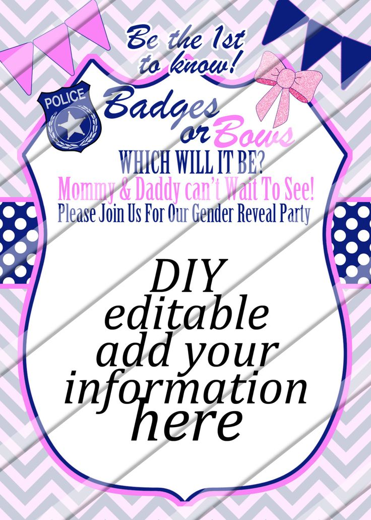 Badges or Bows Gender Reveal Party Invitation DIY Editable ...
