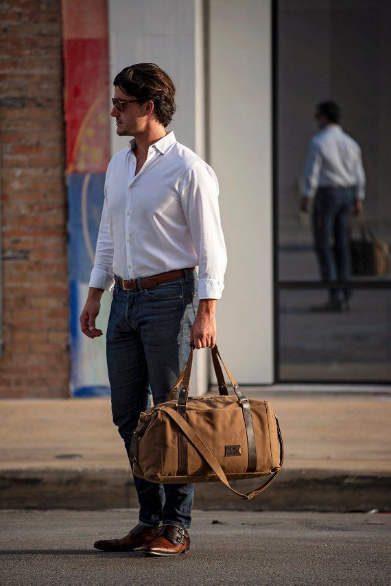 495 Men s Weekender Bag Personalized Duffle Bag in Brown Waxed Canvas Gym  Bag Carry 28218b137d