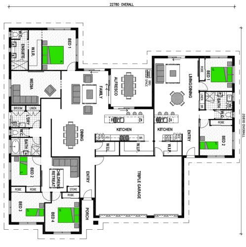 house plan with attached granny flat - Google Search