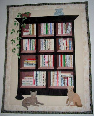 Bookcase Quilt... As a booklover and Quilt Lover....this is a must.  Would have dogs, not cats!   selvageblog.blogspot.com