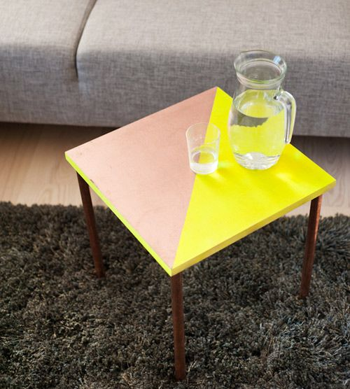 copper tubing and wood & neon side table.                 Brittany Watson Jepsen at The House That Lars Built.