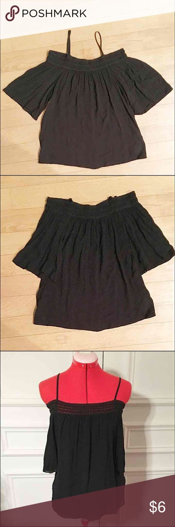 Black off shoulder top! Super cute and versatile black off shoulder top from Forever 21 Lightweight hand flowy with elastic crocheted neckline Has shoulder straps which can be worn visible, or tucked in Condition is like new! Size S  Bundle with other listings for savings! Forever 21 Tops Blouses