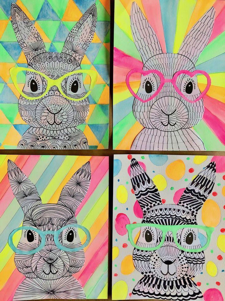 Funky Easter Bunnies Zentangle Drawing Artforkids Easter