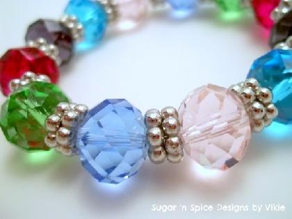 Jewel Tone Fire Polished Womens Chunky Stretch Bracelet: Beads Rainbows, Stretch Bracelets, Glasses Beads, Jewel Tones, Jewelry Design, Tones Fire, Fire Polish, Jewels Tones, Jewelry Bling
