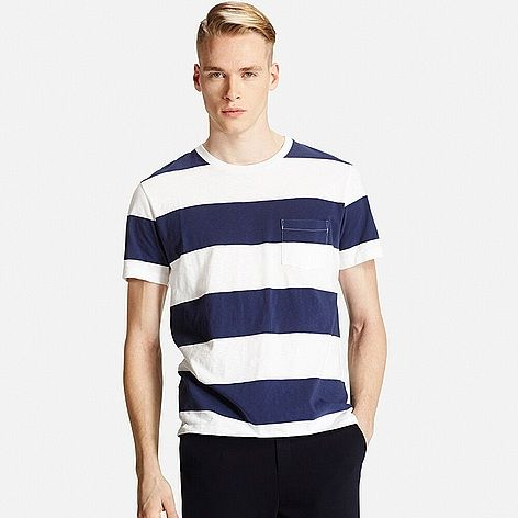 MEN Washed Striped Short Sleeve T-Shirt