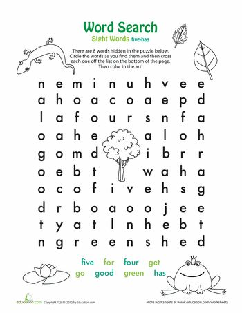 Worksheets: Easy Word Search: F, G, H
