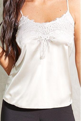24a451b95022ab Jessica Wright Harj gold satin lace trim insert cami top ...