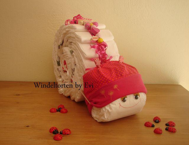 Windelschnecke 'Kleine Prinzessin', Windeltorte von Windeltorten By Evi auf DaWanda.com