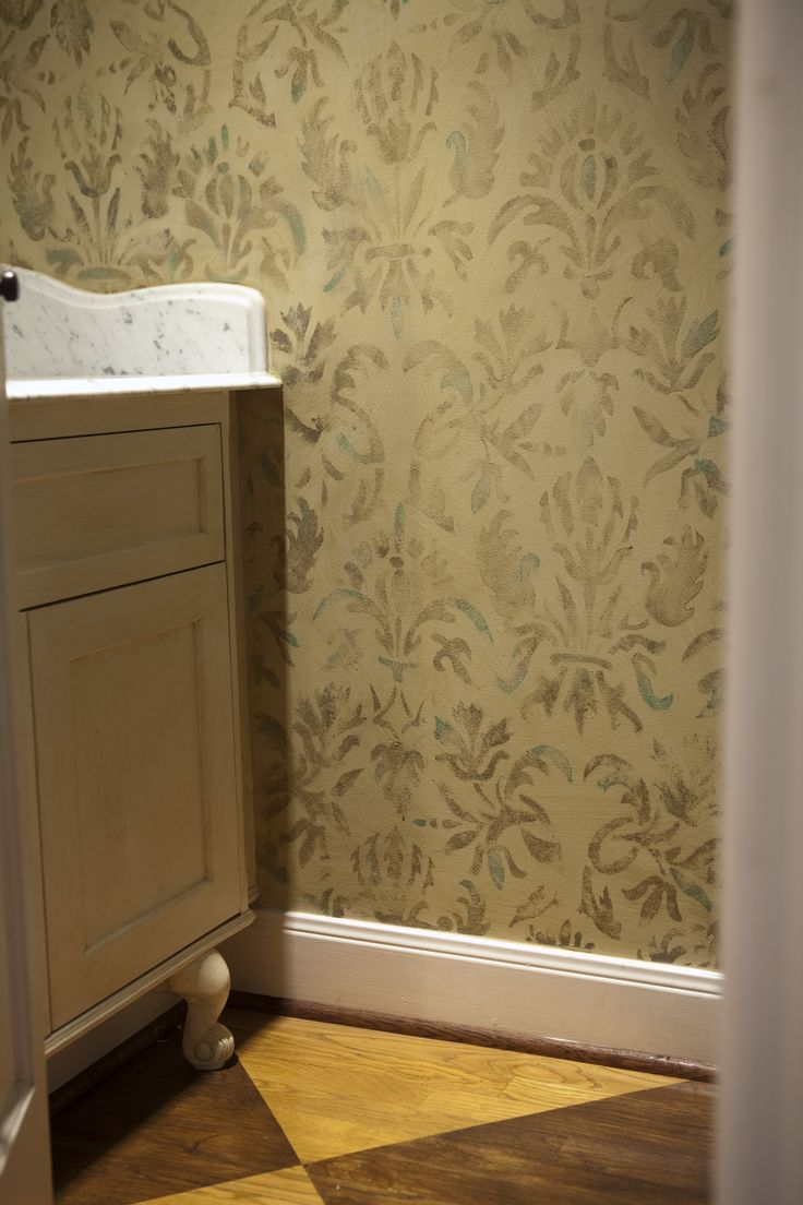 Softly Stenciled Walls In A Powder Room In Houston ,painted By  Pruitt Littleton Decorative