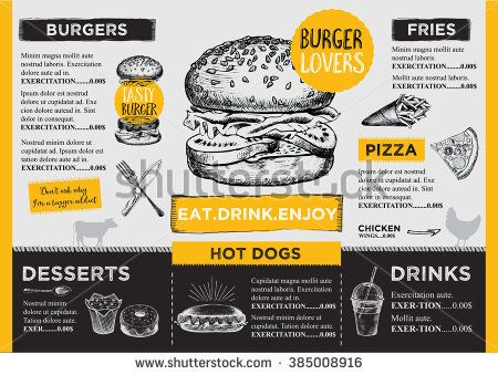 Restaurant Brochure Vector, Menu Design. Vector Cafe Template With  Hand Drawn Graphic.