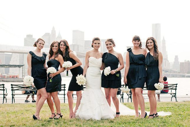 Mismatched black bridesmaids