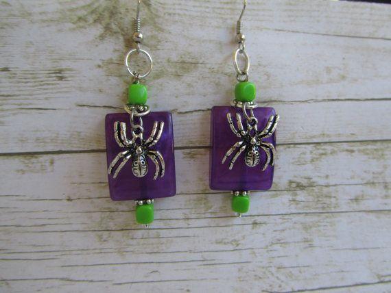 Purple Halloween Spider Earrings Spider by BrownBeaverBeadery