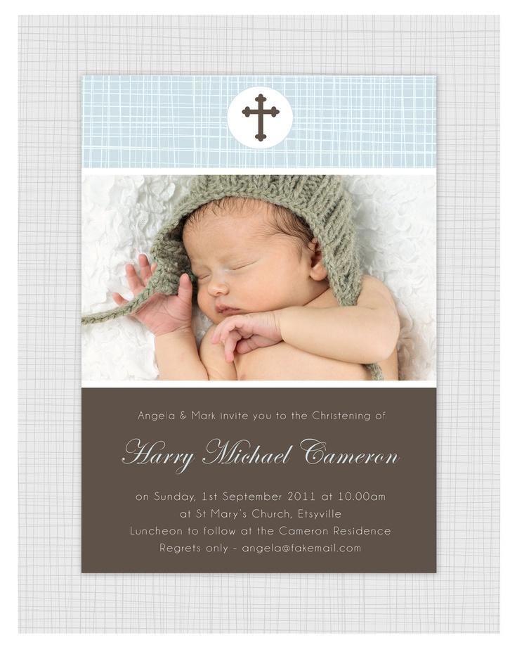 We used this vender to create K's baptism invites. We loved them!    Photo Christening/baptism Invitations. Boys cross design. I Customize, You Print.. $15.99, via Etsy.