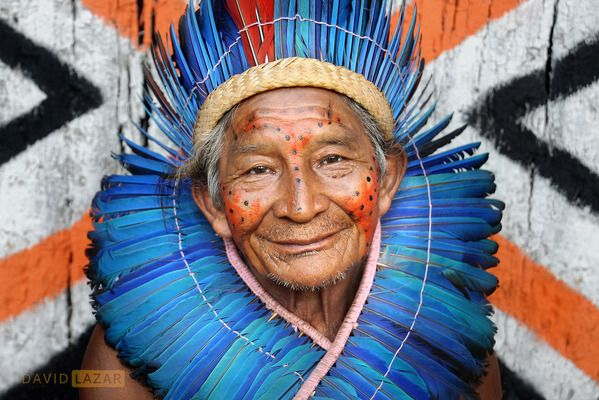 A portrait of a Brazilian Amazonian elder and chief of a village situated in the Amazon Rainforest. Face paint and body adornments are used to represent tribes and the position and status with the tribe. Amazonia, Brazil. By David Lazar