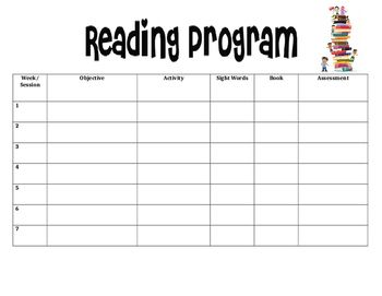 FREE  I used this in my grade 1 class as an outline for each students individual reading program. Took some time to do it individually for each student but made the program run much smoother having such a handy outline.Editable to make it personally useful for you :)