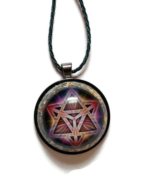 Orgone pendant with sacred geometry merkaba by Fractal