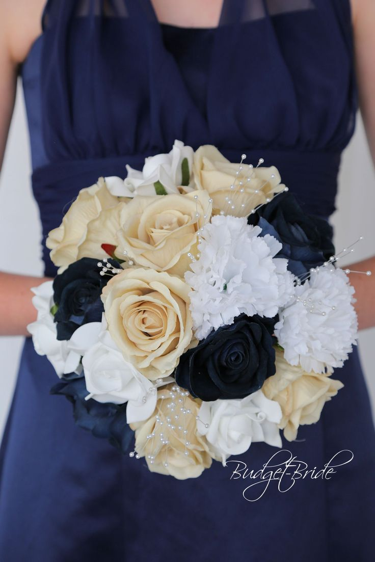 Davids Bridal Marine Blue, Champagne and white flowers accented with pearls Wedding Bouquet