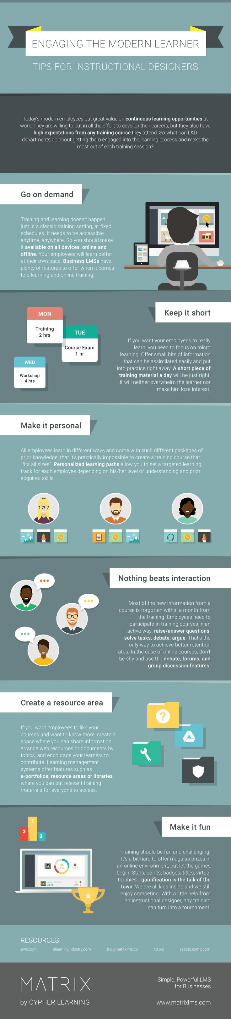 Engaging the Modern Learner Infographic - http://elearninginfographics.com/engaging-the-modern-learner-infographic/