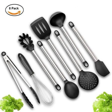 8PCS Set Kitchen Cooking Utensils Set Silicone+Steel