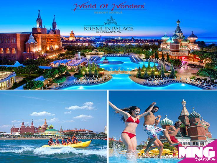 İhtişamıyla göz kamaştıran WOW Kremlin Palace, denize sıfır konumu, maksimum her şey dahil konsepti ile misafirlerine unutulmaz bir tatil yaşama fırsatı sunuyor. bit.ly/MNGTurizm-wow-kremlin-palace-s