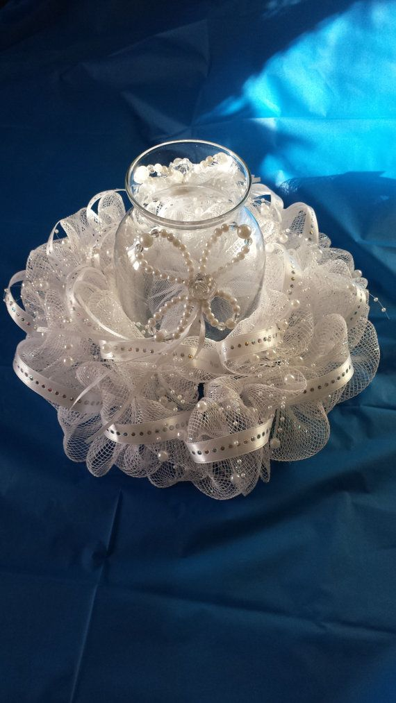 White Deco Mesh Wedding Centerpiece with Beading Detail