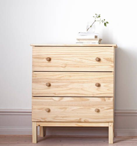 IKEA Catalog 2015, untreated TARVA 3-drawer chest, paint it to make it your own, or leave as is. Pine.