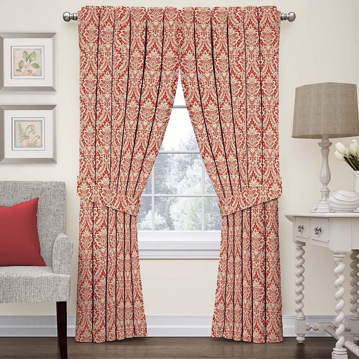 Waverly Donnington Damask Curtain, Red