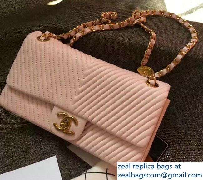 Chanel Grained Lamskin Chevron Quilting Classic Flap Medium Bag A01112 Pink 2017