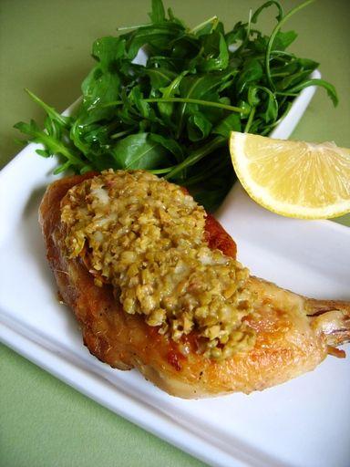 Cuisses de poulet gratinées aux olives et parmesan