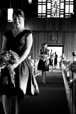 Bridesmaids entering with deep perspective. Wedding photos