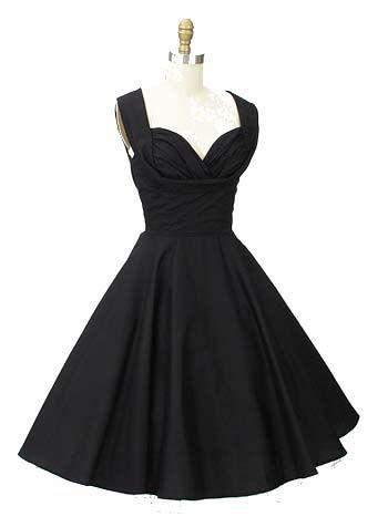 50s inspired black shelf bust swing dress