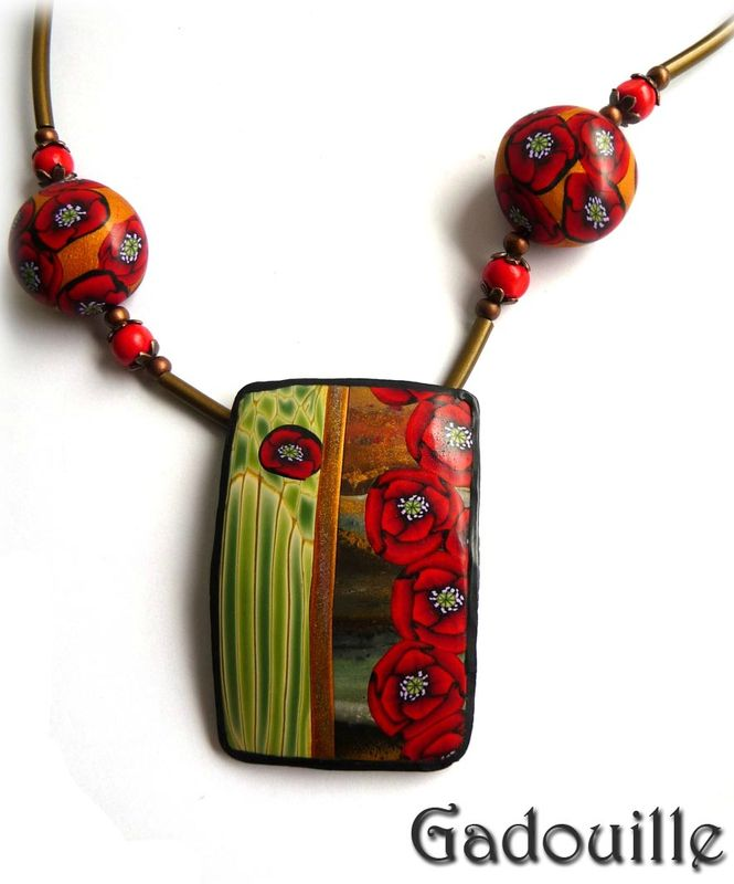 A force de regarder... polymer clay poppy cane necklace by Gadouille