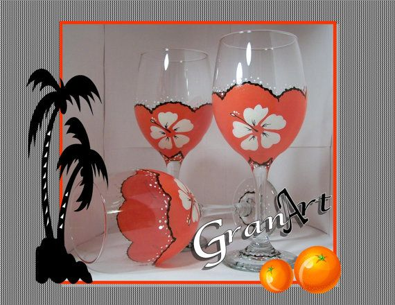 Sun Kissed Orange Wine Glass Tropical Wine Glass Home by GranArt