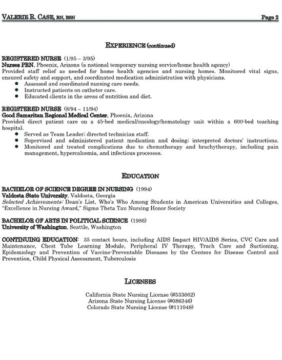 Resume Format For Nursing Job