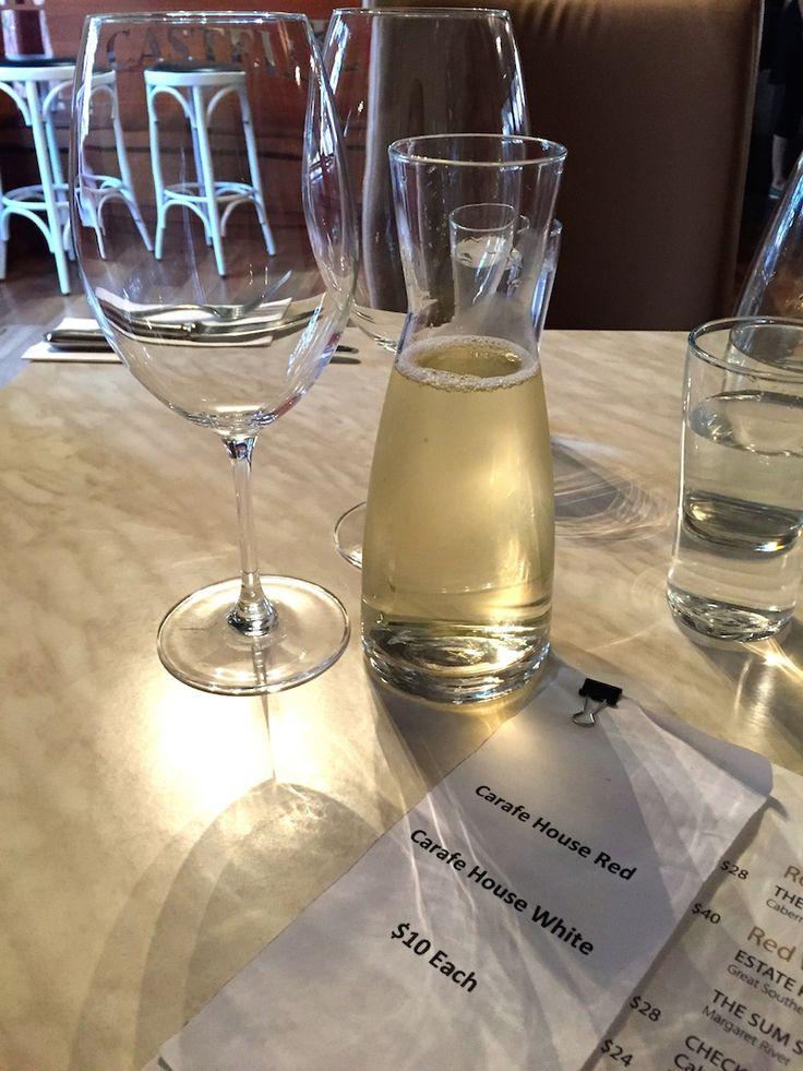 Carafe's of wine at the Castelli Estate Bistro in Denmark
