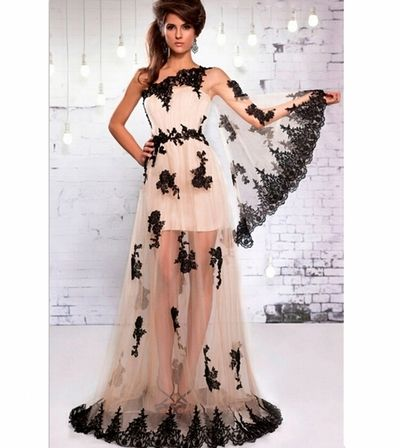 One Shoulder Tulle Cheap Sexy Beautiful Long See Through Elegant Prom Dresses Gowns vestidos de baile