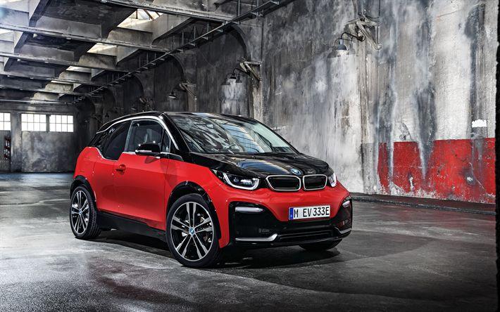 Lataa kuva BMW i3s, 2018, Tuning i3, punainen i3, sähköauto, uusia autoja, Saksan autoja, BMW