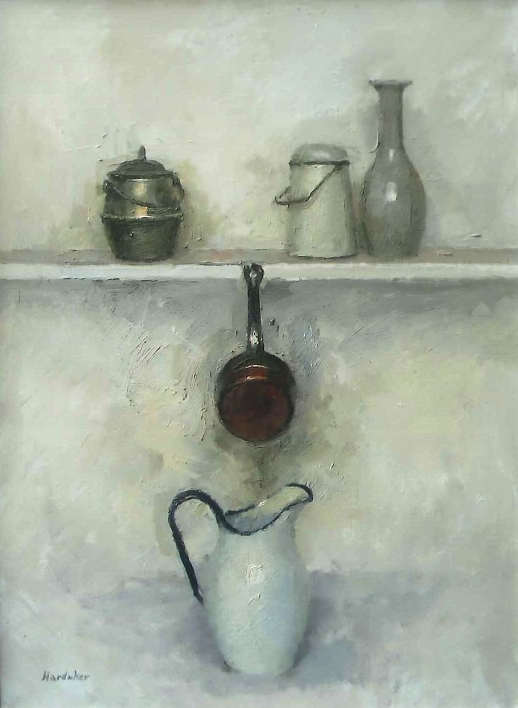 "Charles Hardaker RBA NEAC ""Still Life - Five Objects"" Oil 72x56cm www.mallgalleries.org.uk"