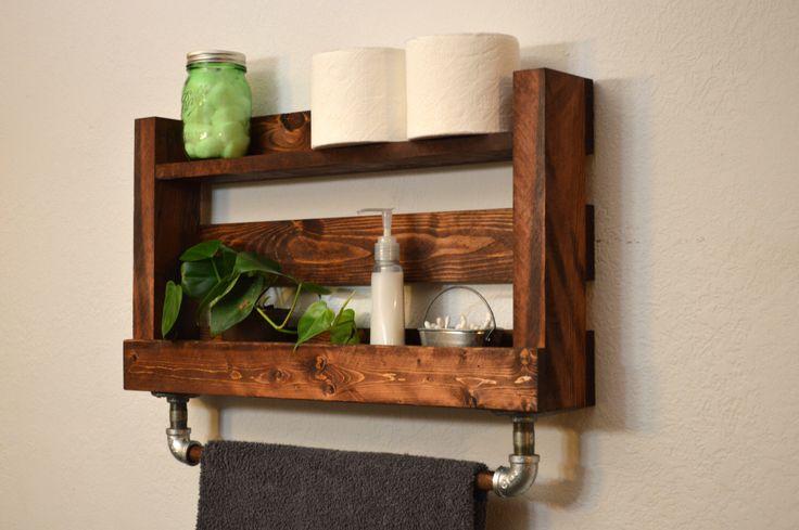 Rustic Modern Bathroom Shelf Bath Towel Rack 2 Tier Industrial Cast Iron Wood Bar Rustic Red by RusticModernDecor on Etsy https://www.etsy.com/listing/193395674/rustic-modern-bathroom-shelf-bath-towel