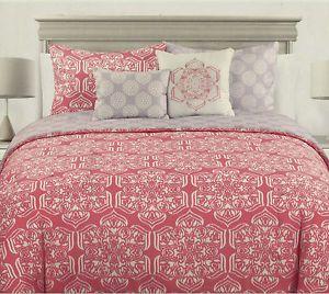 Max Studio Pink Salmon 3pc King Duvet Cover Shams Bedding Set Medallion Moroccan   eBay