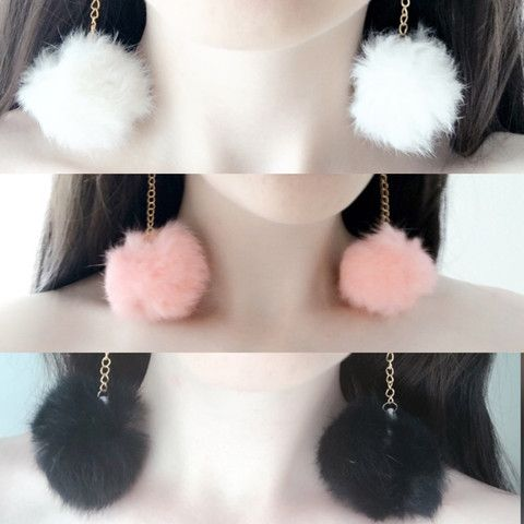 white pink black pom pom furry faux fur fluffy earrings cocktail cute soft dangly long earrings from Baby Voodoo - kawaii shop for clothing and accessories, punk fashion kawaii harajuku pin up retro vintage