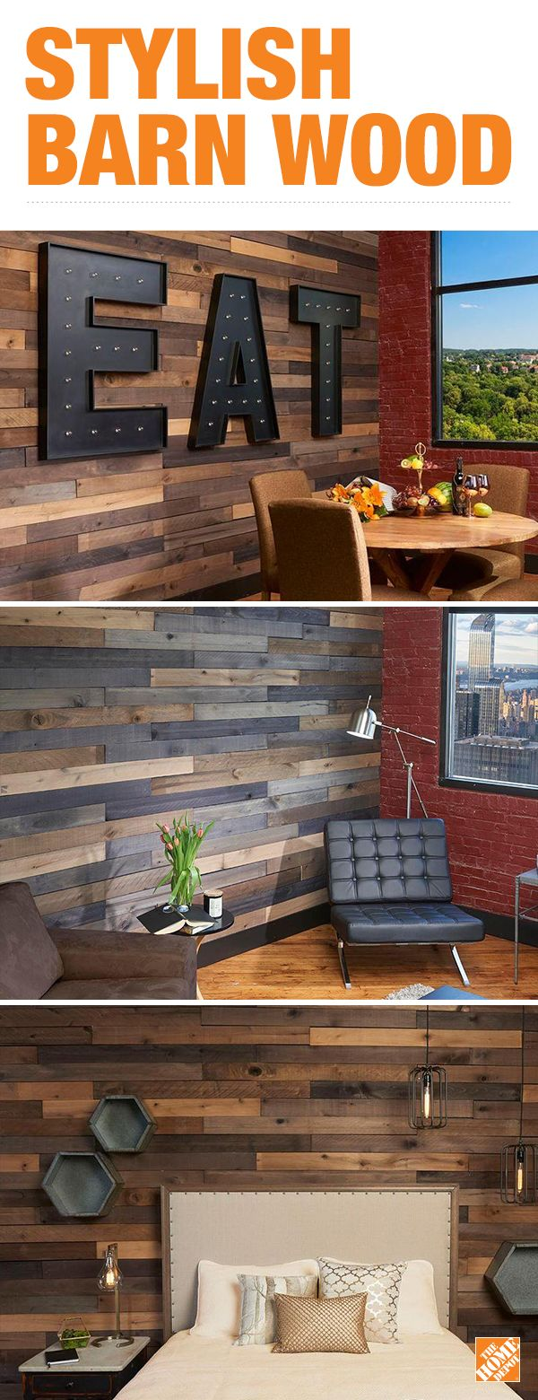 There are endless ways you can use barn wood in your home to create a rustic and chic interior. Bring the outside in and make a statement wall with easy-to-use and easy-to-install barn wood. Click to shop and explore DIY and design ideas.